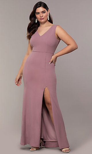Simply V-Neck Plus-Size Long Mauve Pink Formal Dress