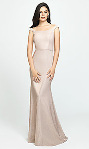 Image of glitter-jersey long sparkly formal prom dress. Style: NM-19-175 Detail Image 3