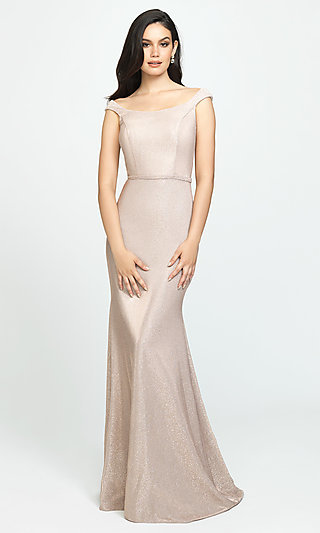 Glitter-Jersey Long Sparkly Formal Prom Dress