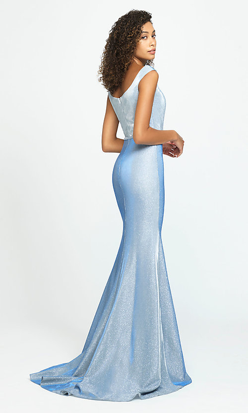 Image of glitter-jersey long sparkly formal prom dress. Style: NM-19-175 Back Image
