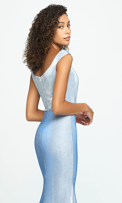 Image of glitter-jersey long sparkly formal prom dress. Style: NM-19-175 Detail Image 2