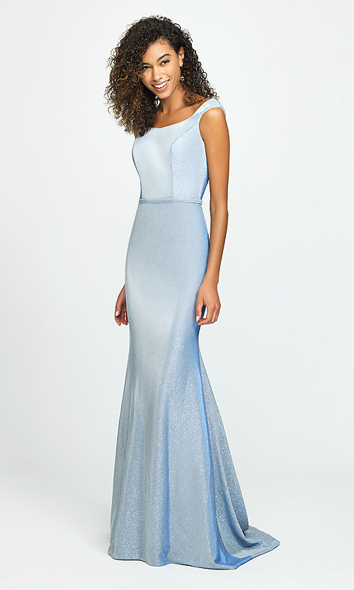 Image of glitter-jersey long sparkly formal prom dress. Style: NM-19-175 Front Image