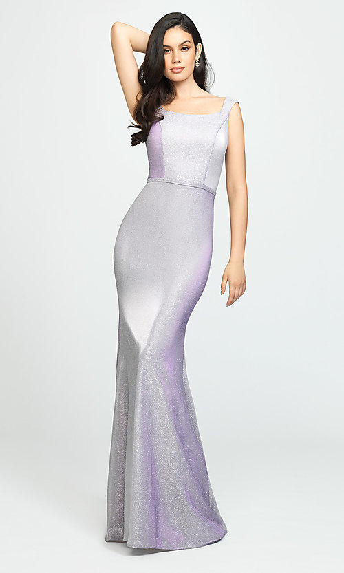 Image of glitter-jersey long sparkly formal prom dress. Style: NM-19-175 Detail Image 4