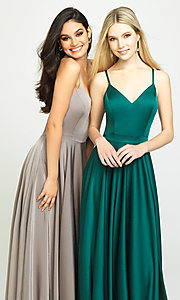 Image of long formal prom dress with spaghetti straps. Style: NM-19-178 Detail Image 2
