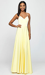 Image of long formal prom dress with spaghetti straps. Style: NM-19-178 Front Image