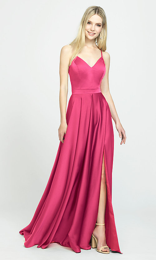 Image of long formal prom dress with spaghetti straps. Style: NM-19-178 Detail Image 3