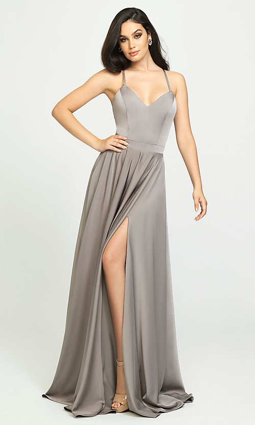 Image of long formal prom dress with spaghetti straps. Style: NM-19-178 Detail Image 1