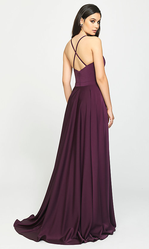 Image of long formal prom dress with spaghetti straps. Style: NM-19-178 Back Image