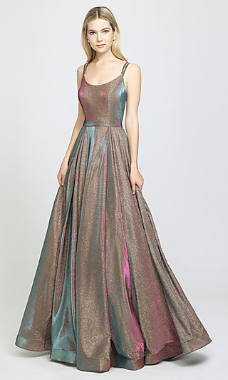 Scoop-Neck Glitter Formal Gown with a Back Cut-Out