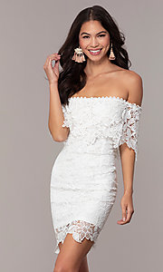 Image of short off-the-shoulder lace grad dress by Simply Style: JTM-SD-JMD7605-I Front Image