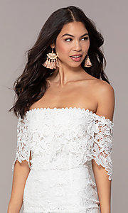 Image of short off-the-shoulder lace grad dress by Simply Style: JTM-SD-JMD7605-I Detail Image 1