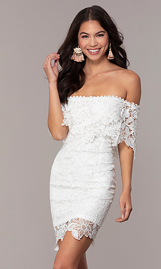 Short Off-the-Shoulder Lace Grad Dress by Simply