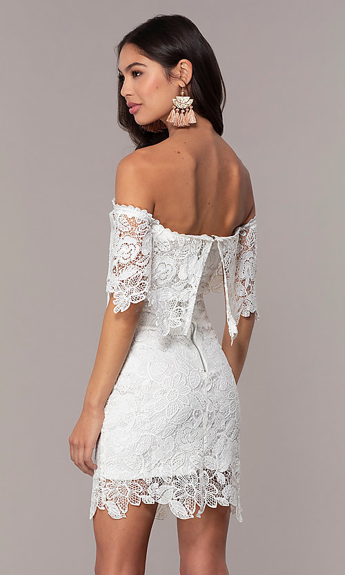 Image of short off-the-shoulder lace grad dress by Simply Style: JTM-SD-JMD7605-I Back Image