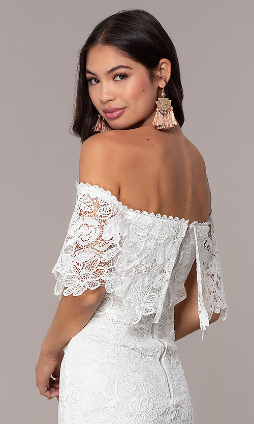 Image of short off-the-shoulder lace grad dress by Simply Style: JTM-SD-JMD7605-I Detail Image 2