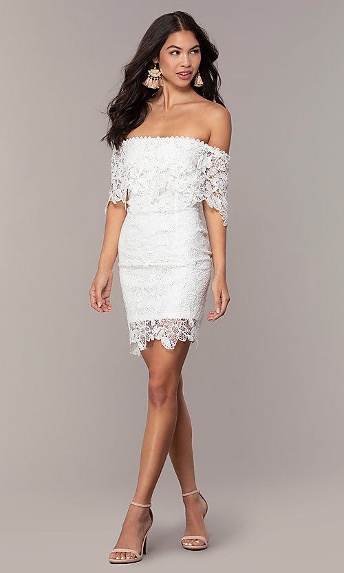 Image of short off-the-shoulder lace grad dress by Simply Style: JTM-SD-JMD7605-I Detail Image 3