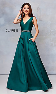 Image of long v-neck corset-back formal gown with pockets. Style: CLA-3742 Front Image