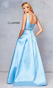 Image of long v-neck corset-back formal gown with pockets. Style: CLA-3742 Back Image