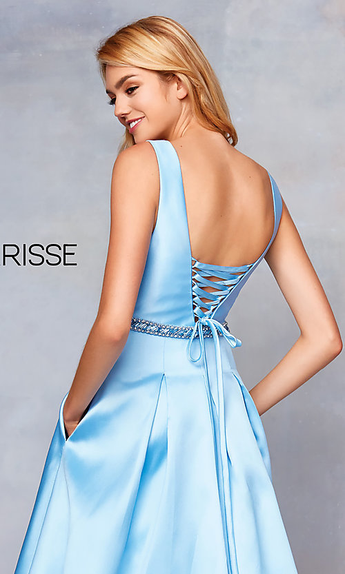 Image of long v-neck corset-back formal gown with pockets. Style: CLA-3742 Detail Image 2
