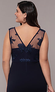 Image of Simply long plus formal dress with v-neckline. Style: MCR-SD-3090 Detail Image 2