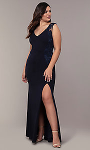 Image of Simply long plus formal dress with v-neckline. Style: MCR-SD-3090 Detail Image 3