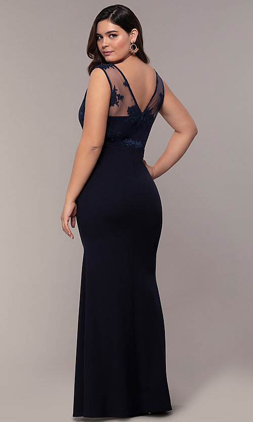 Image of Simply long plus formal dress with v-neckline. Style: MCR-SD-3090 Back Image