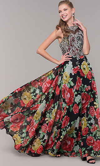 High Neck Bodice Prom Dress with Long Floral Skirt