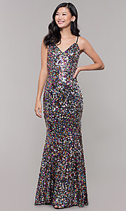 Image of long black sequin prom dress with v-neckline. Style: LP-25944r Front Image