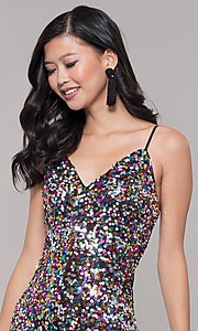 Image of long black sequin prom dress with v-neckline. Style: LP-25944r Detail Image 1