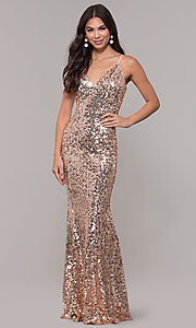 Image of long black sequin prom dress with v-neckline. Style: LP-25944r Detail Image 4