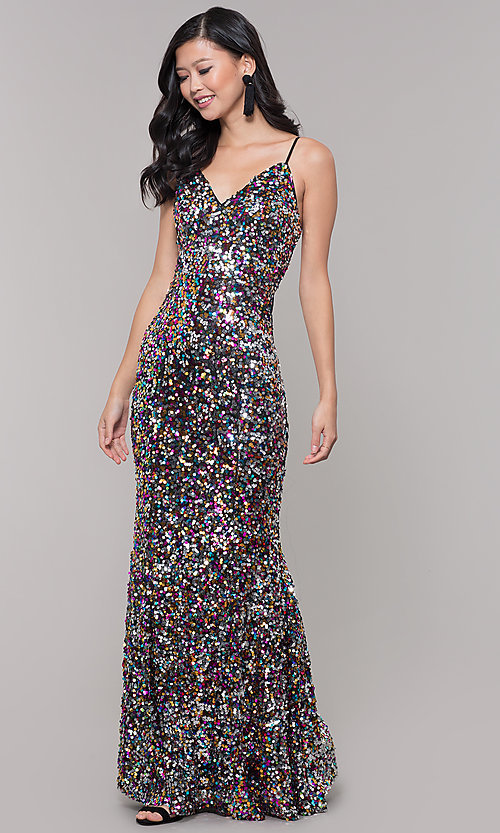 Image of long black sequin prom dress with v-neckline. Style: LP-25944r Detail Image 3