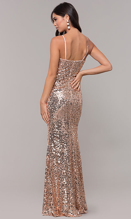 Image of long black sequin prom dress with v-neckline. Style: LP-25944r Detail Image 5