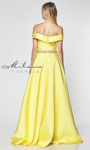 Image of off-the-shoulder long formal gown with pockets. Style: MF-E2781 Back Image