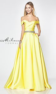 Image of off-the-shoulder long formal gown with pockets. Style: MF-E2781 Front Image