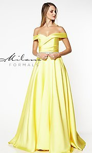 Image of off-the-shoulder long formal gown with pockets. Style: MF-E2781 Detail Image 4