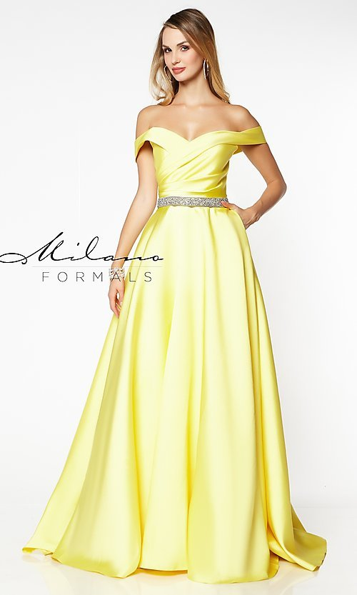 Image of off-the-shoulder long formal gown with pockets. Style: MF-E2781 Detail Image 3