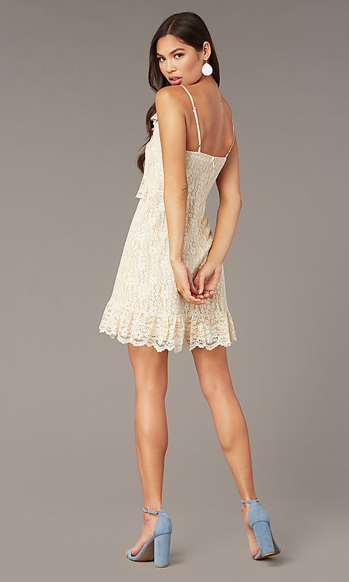 Image of cream short lace party dress with ruffles. Style: STO-SD1935A Back Image