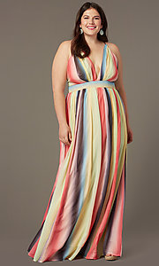 Image of striped plus-size long wedding-guest party dress. Style: LT-PLD50799A Front Image