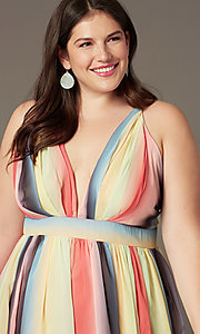 Image of striped plus-size long wedding-guest party dress. Style: LT-PLD50799A Detail Image 1