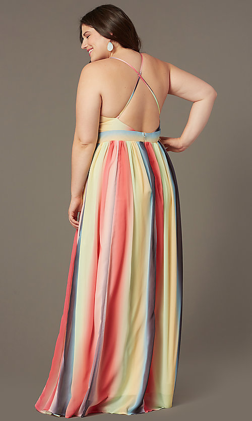 Image of striped plus-size long wedding-guest party dress. Style: LT-PLD50799A Back Image
