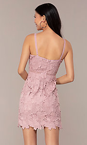Image of floral-lace short sleeveless graduation party dress. Style: MT-9717 Back Image