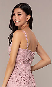 Image of floral-lace short sleeveless graduation party dress. Style: MT-9717 Detail Image 2