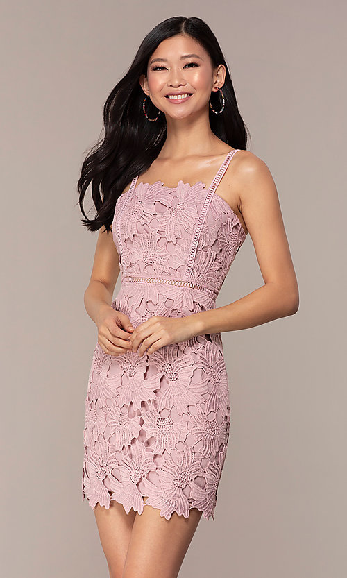 Image of floral-lace short sleeveless graduation party dress. Style: MT-9717 Front Image