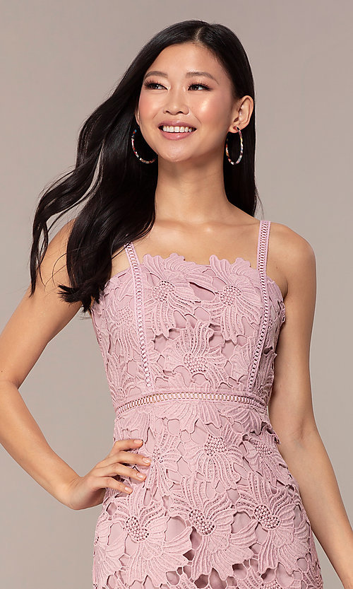 Image of floral-lace short sleeveless graduation party dress. Style: MT-9717 Detail Image 1