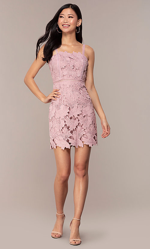 Image of floral-lace short sleeveless graduation party dress. Style: MT-9717 Detail Image 3
