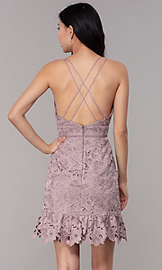 Image of v-neck lace short party dress in dusty mauve pink. Style: MT-9990 Back Image