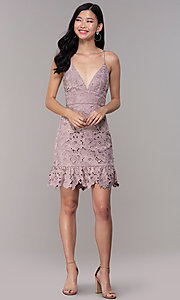 Image of v-neck lace short party dress in dusty mauve pink. Style: MT-9990 Detail Image 3
