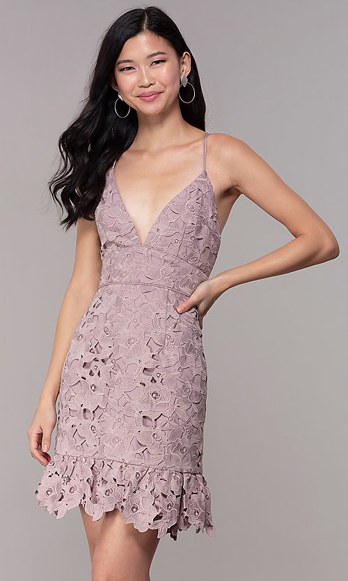 Image of v-neck lace short party dress in dusty mauve pink. Style: MT-9990 Front Image