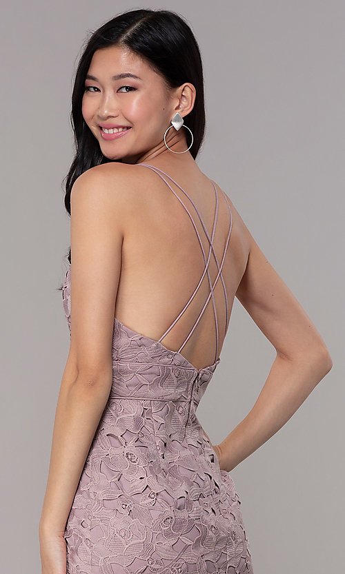 Image of v-neck lace short party dress in dusty mauve pink. Style: MT-9990 Detail Image 2