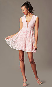 Image of sheer-back short graduation dress with embroidery.  Style: MT-9924 Detail Image 1