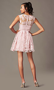 Image of sheer-back short graduation dress with embroidery.  Style: MT-9924 Back Image